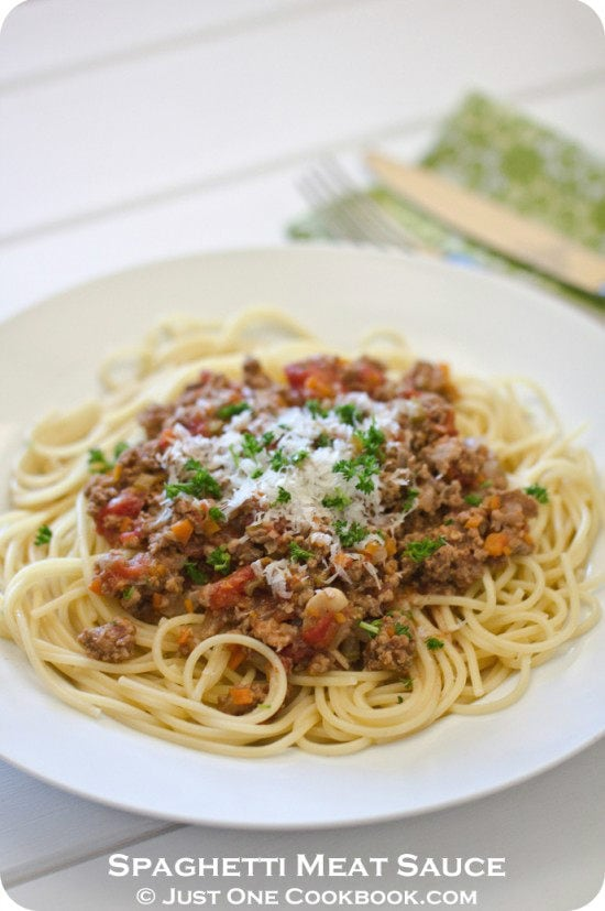 Spaghetti Meat Sauce Recipe | Easy Japanese Recipes at JustOneCookbook.com