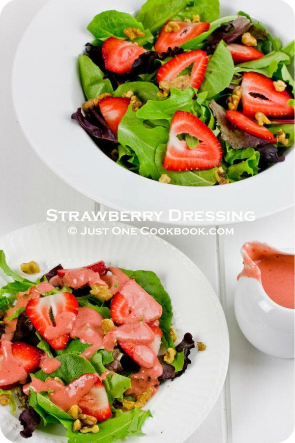 Strawberry Dressing over mixed green salad.