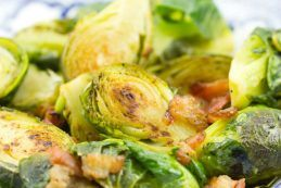 Brussels Sprouts with Bacon and Thyme on a plate.