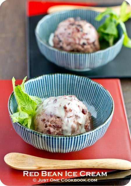 Red Bean Ice Cream with condensed milk in bowls.