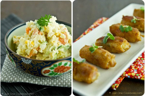 Japanese Potato Salad and Potato Salad Pork Rolls on a table.