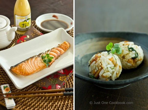 Broiled Salmon & Salmon Onigiri (Rice Ball) on a table.