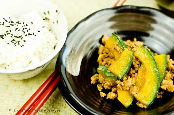 Kabocha Pork Stir Fry in a dish and a bowl of rice.