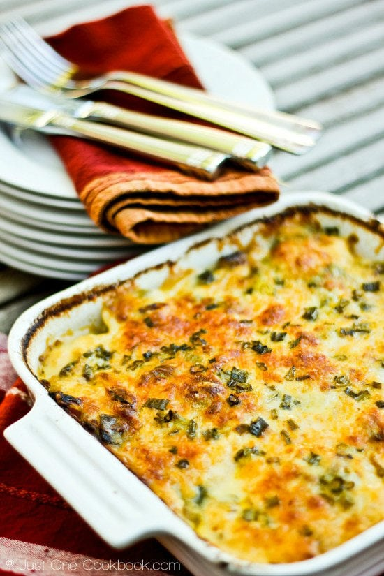 Potato-Leek Gratin in a baking dish.