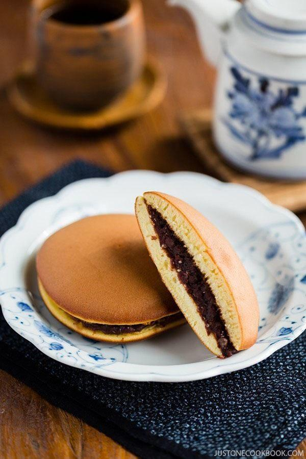Dorayaki on a plate and a cup of tea.