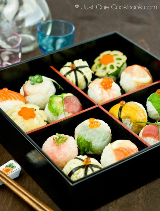 Temari Sushi in Japanese wooden tray.