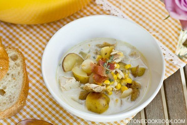 Chicken and Corn Chowder in a white soup bowl.