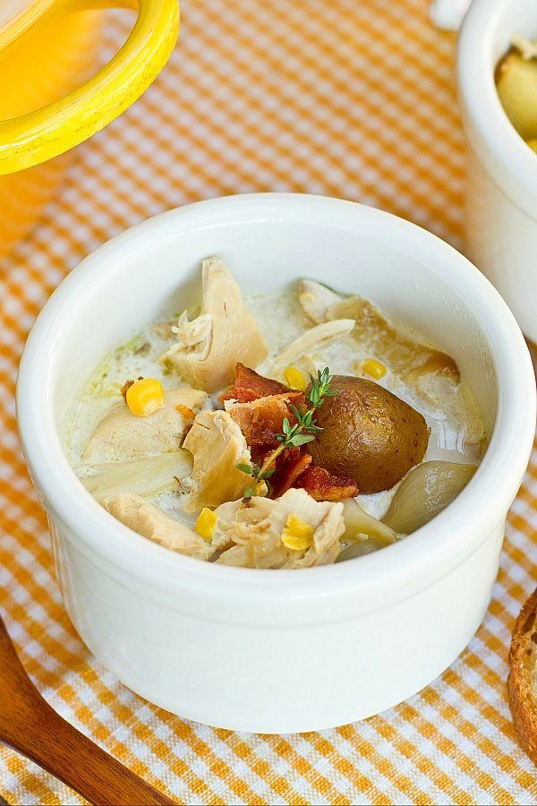 Chicken Corn Chowder in a small white cup.