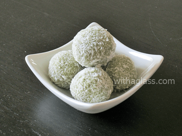 Matcha and White Chocolate Truffles in a bowl.