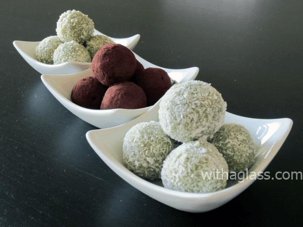 Matcha and White Chocolate Truffles on white dishes.