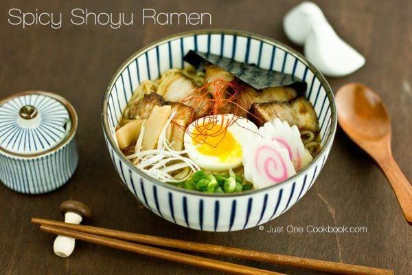 Spicy Shoyu Ramen in a bowl.
