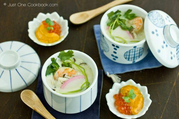 Chawanmushi with Shrimp in cups.