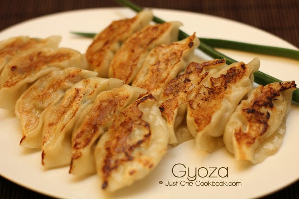 5 easy japanese recipes to cook at home just one cookbook gyoza on a white plate forumfinder Image collections