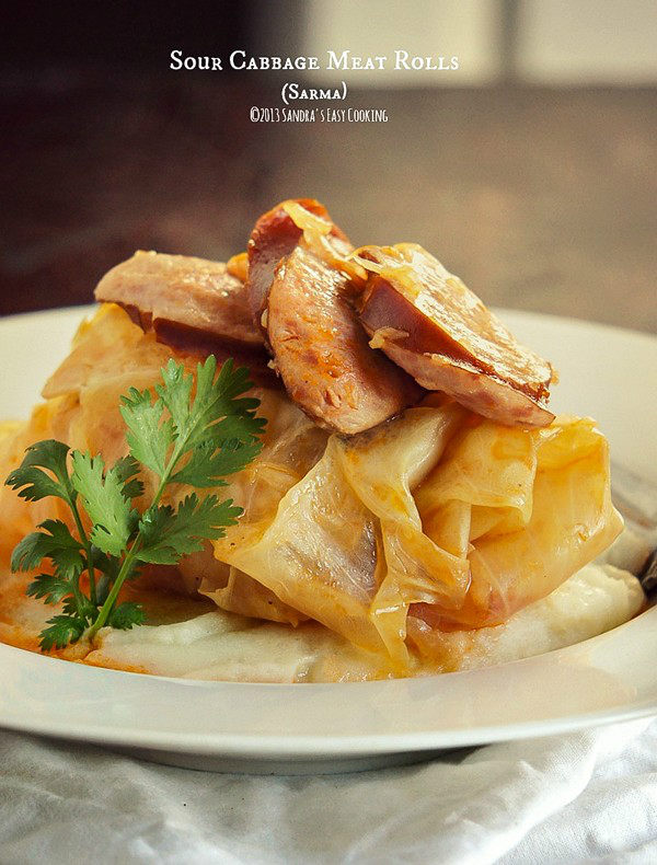 Sour Cabbage Meat Rolls (Sarma) on a plate.