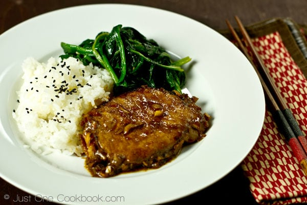 Asian pork chop recipe just one cookbook asian pork chop with white rice and sauteed spinach on a white plate forumfinder Choice Image