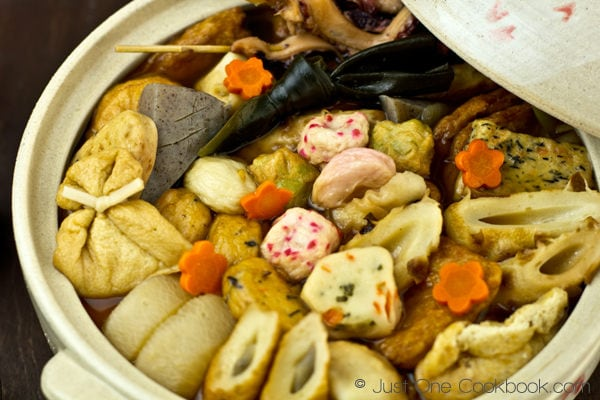 Oden, Japanese fishcake stew in a pot.