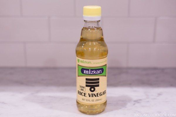 Rice Vinegar in a bottle.