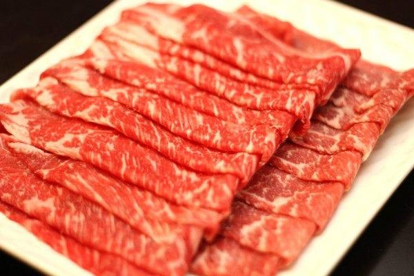 Shabu Shabu Beef on a plate.