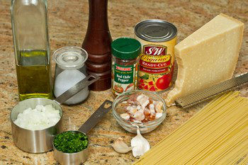 Tomato Bacon Pasta Ingredients