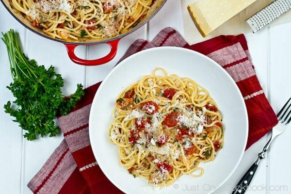 Tomato Bacon Pasta | JustOneCookbook.com
