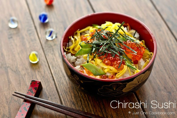 Easy Chirashi Sushi with ikura in a bowl.
