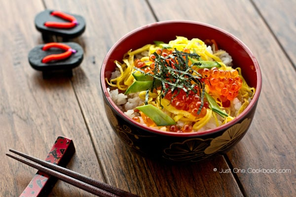 Quick & Easy Chirashi Sushi in a bowl.