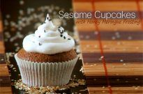Sesame Cupcakes with Honey Meringue Frosting – Guest Post by T and Tea Cake