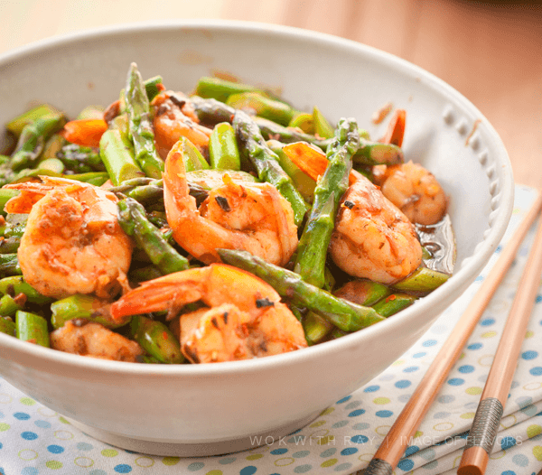 Shrimp Asparagus in a bowl.