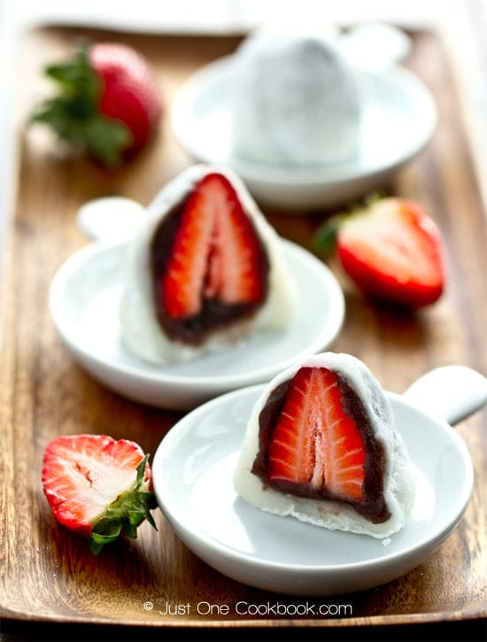 Strawberry Daifuku on plates.