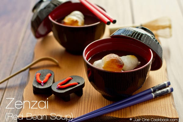 Zenzai, red bean soup in bowls.
