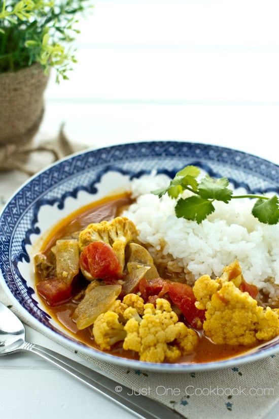 Coconut Curry and rice on a plate.