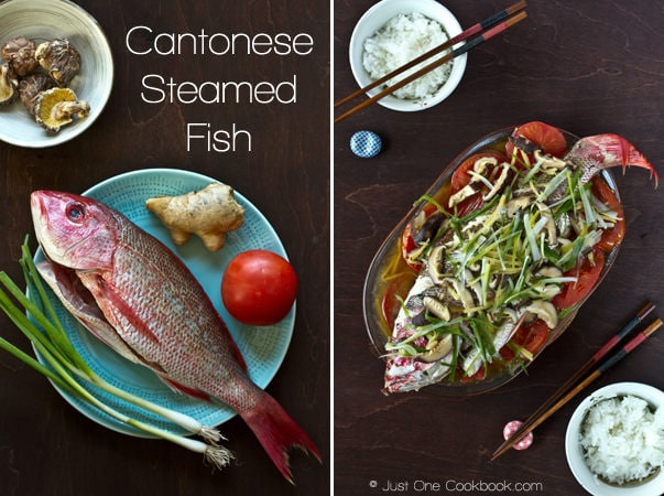 Cantonese Steamed Fish ingredients and steamed fish on a plate with bowls of rice.