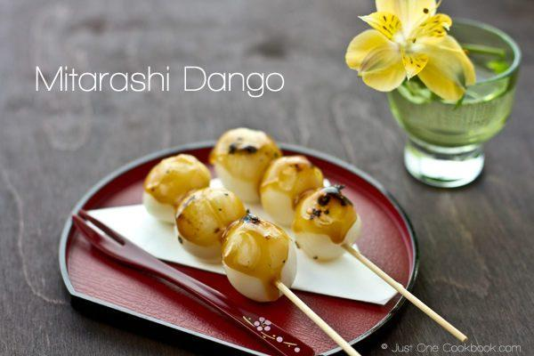 Mitarashi Dango on small tray.