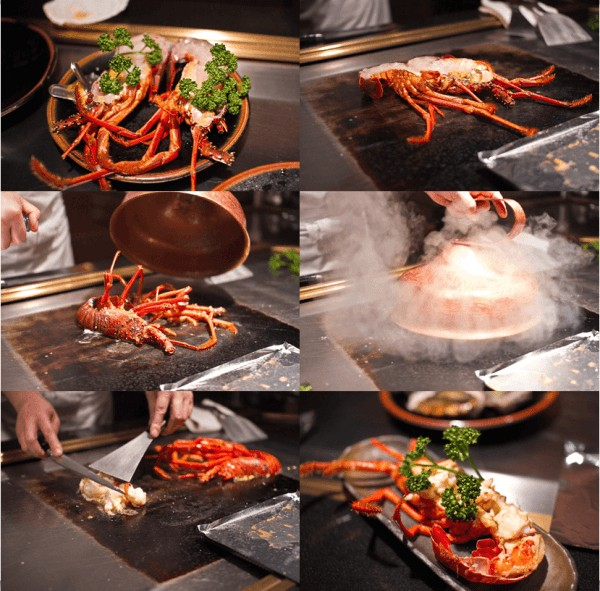 lobster grilled on teppanyaki