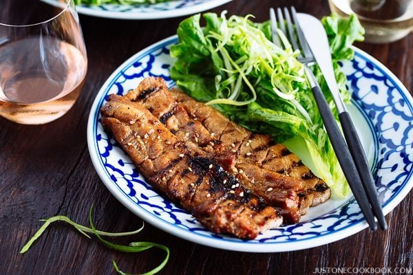 BBQ Pork Belly and salads on the plate.