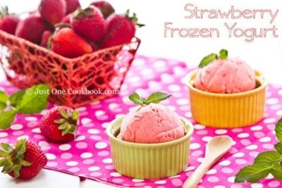 Strawberry Frozen Yogurt I JustOneCookbook.com