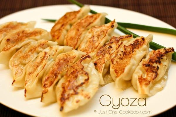 Gyoza on a plate.