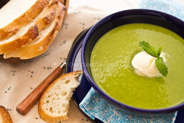 Kale Soup and sliced breads.