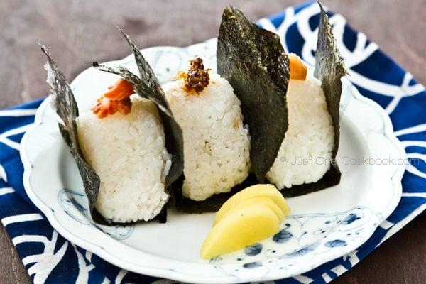 Onigiri, rice ball on a plate.