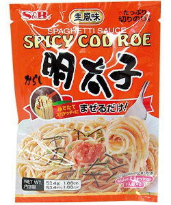 S&B Spicy Cod Roe Pasta in a package.