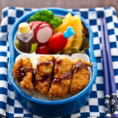 Tonkatsu Bento on a table.