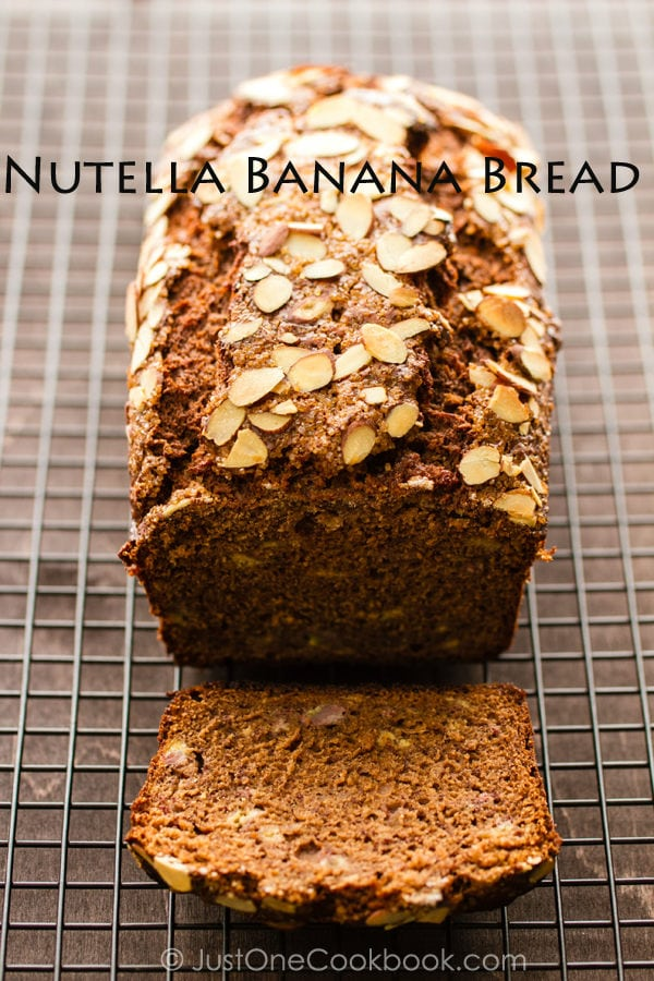 Nutella Banana Bread on a baking wire rack.