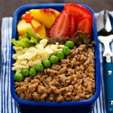 Soboro Bento with fresh fruits.