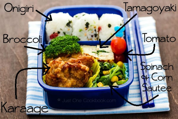 Karaage Bento on a table.