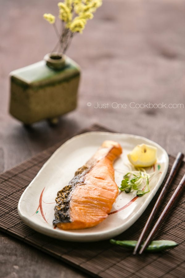 Japanese Salted Salmon on a late.