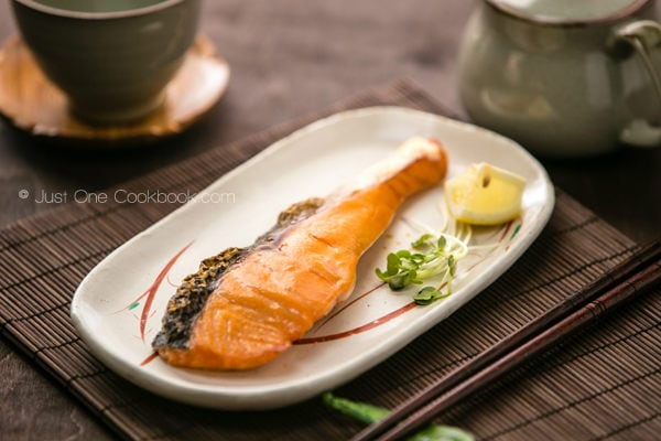 Japanese Salted Salmon on a plate.