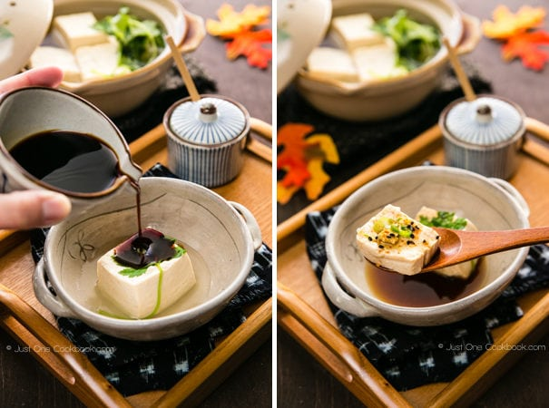 Hot Tofu, Yudofu with sauce in bowls.