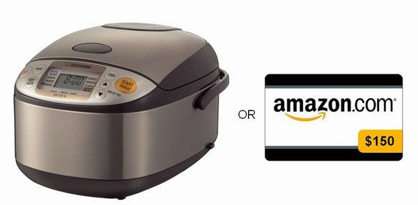 Zojirushi Rice Cooker or $150 Amazon Gift Card Giveaway