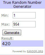 Image of random number generator with result
