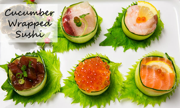 Cucumber Wrapped Sushi on a plate.